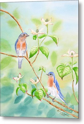 Bluebirds In Dogwood Tree Metal Print by Kathryn Duncan