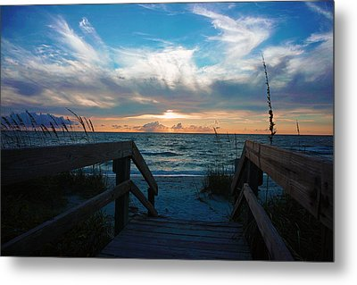Boardwalk At Delnor-wiggins Pass State Park Metal Print by Robb Stan