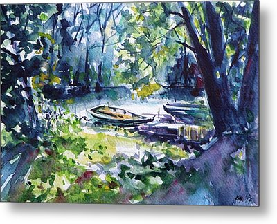 Metal Print featuring the painting Boat by Kovacs Anna Brigitta