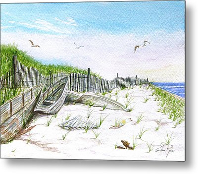 Boats In The Sand Metal Print by Pauline Ross