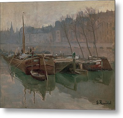Boats On The Seine Metal Print by MotionAge Designs