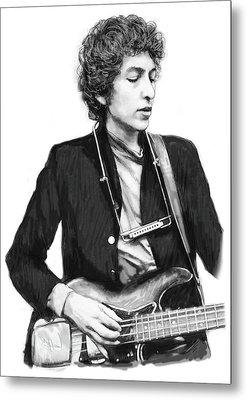 Bob Dylan Drawing Art Poster Metal Print by Kim Wang