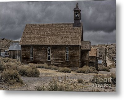 Metal Print featuring the photograph Stormy Day In Bodie State Historic Park by Sandra Bronstein