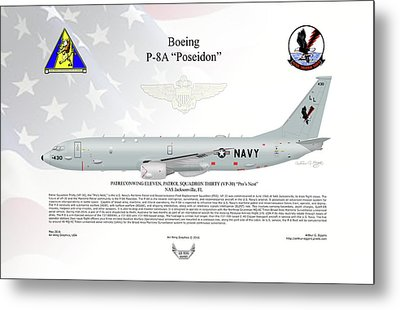 Metal Print featuring the digital art Boeing P-8a Poseidon by Arthur Eggers