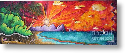 Bold Colorful Tropical Sunset Art Original Beach Painting By Megan Duncanson Metal Print