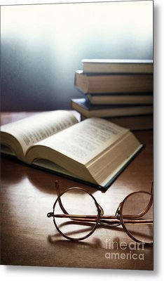 Books And Glasses Metal Print
