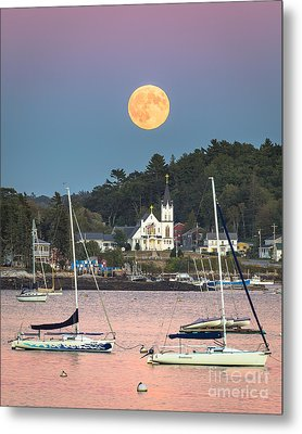Boothbay Harbor Supermoon Metal Print