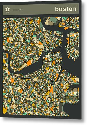 Boston City Map Metal Print