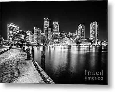 Boston Skyline At Night Black And White Photo Metal Print