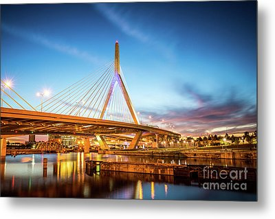 Boston Zakim Bridge At Night Photo Metal Print by Paul Velgos