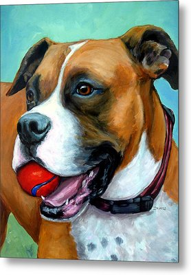 Boxer With Red Ball Metal Print by Dottie Dracos