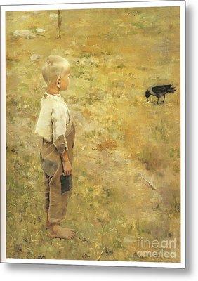 Boy With A Crow Metal Print by Akseli Gallen-Kallela