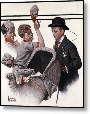 Boy With Baby Carriage Metal Print by Norman Rockwell