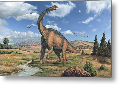 Brachiosaurus Dinosaur Metal Print by Joe Tucciarone