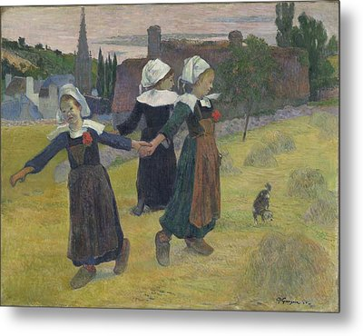 Breton Girls Dancing - Pont-aven Metal Print by Paul Gauguin