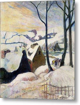 Breton Village Under Snow Metal Print