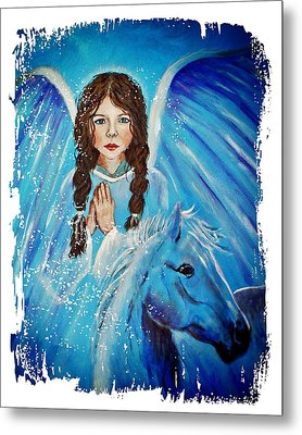 Brianna Little Angel Of Strength And Courage Metal Print by The Art With A Heart By Charlotte Phillips