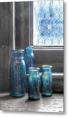 Bromo Seltzer Vintage Glass Bottles  Metal Print by Marianna Mills