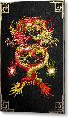 Brotherhood Of The Snake - The Red And The Yellow Dragons Metal Print by Serge Averbukh