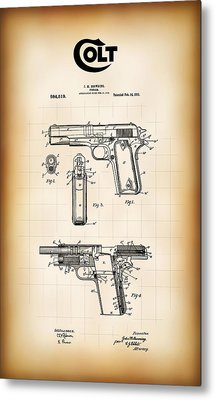 Browning Colt 45 Model 1911 Patent Metal Print by Daniel Hagerman