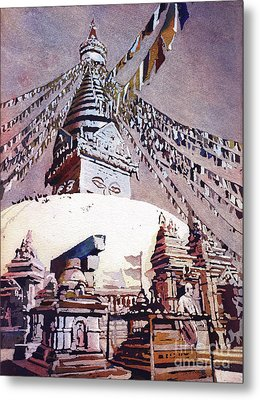 Metal Print featuring the painting Buddhist Stupa- Nepal by Ryan Fox