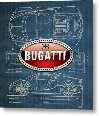 Bugatti 3 D Badge Over Bugatti Veyron Grand Sport Blueprint  Metal Print by Serge Averbukh
