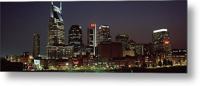 Buildings Lit Up At Dusk, Nashville Metal Print by Panoramic Images