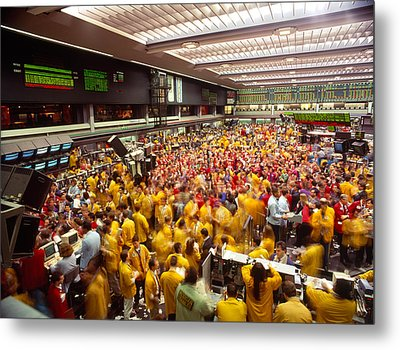 Business Executives On Trading Floor Metal Print by Panoramic Images