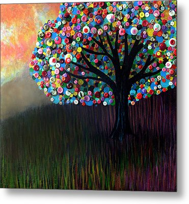Metal Print featuring the painting Button Tree 0004 by Monica Furlow