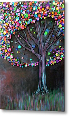 Metal Print featuring the painting Button Tree 0006 by Monica Furlow