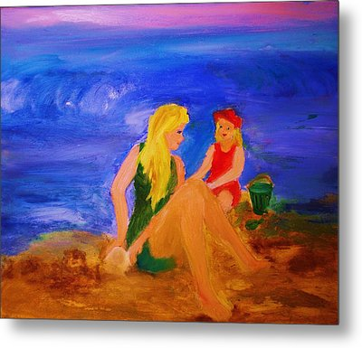 Metal Print featuring the painting By The Sea by Evelina Popilian