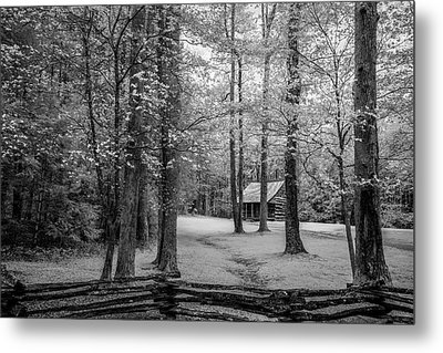 Cabin In Cades Cove Metal Print by Jon Glaser