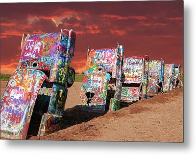Metal Print featuring the photograph Cadillac Ranch by Carolyn Dalessandro