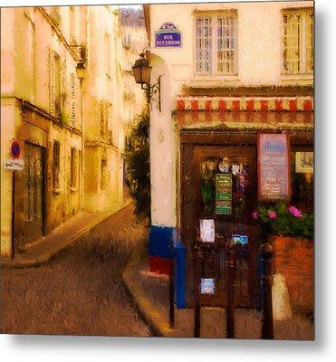 Cafe On The Rue Des Ursins Metal Print by Mick Burkey