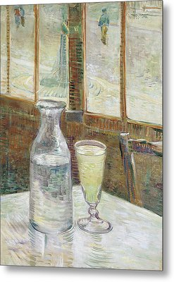 Cafe Table With Absinthe Metal Print by Vincent van Gogh