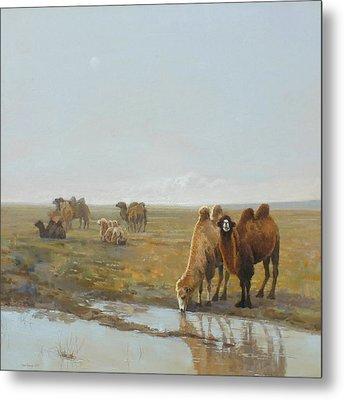 Camels Along The River Metal Print