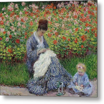 Camille Monet And A Child In The Garden At Argenteuil Metal Print