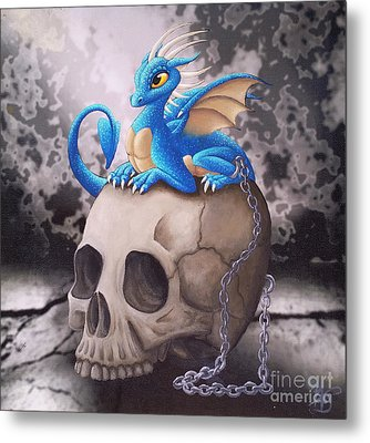 Captive Dragon On An Old Skull Metal Print