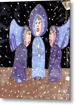 Carolers On A Snowy Night Metal Print by Elinor Rakowski
