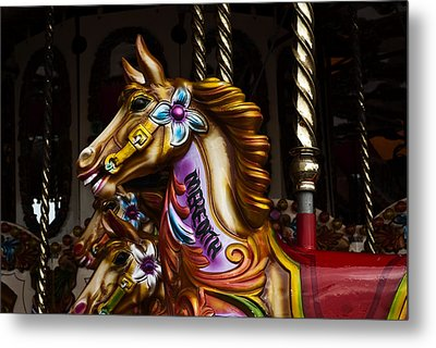 Metal Print featuring the photograph Carousel Horses by Steve Purnell