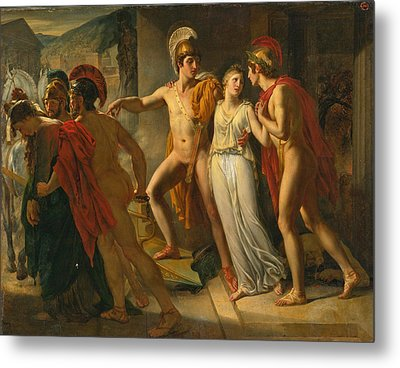 Castor And Pollux Rescuing Helen Metal Print by Jean-Bruno Gassies
