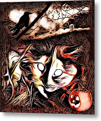 Cat Abstract By Artful Oasis 1 Metal Print