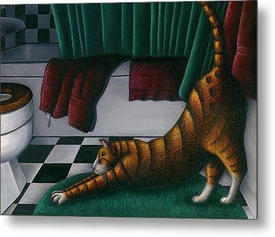 Cat Stretching In Bathroom Metal Print by Carol Wilson