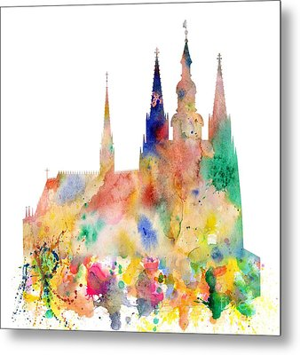 Cathedral Of Saint Vitus In The Prague Castle Watercolor Art Metal Print