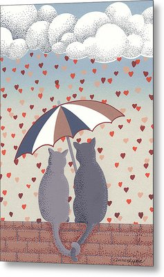 Cats In Love Metal Print by Anne Gifford