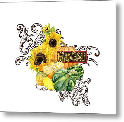 Celebrate Abundance - Harvest Fall Pumpkins Squash N Sunflowers Metal Print by Audrey Jeanne Roberts