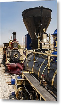 Central Pacific And Union Pacific Locomotives At Promontory, Uta Metal Print by Rick Pisio
