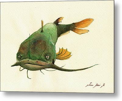 Channel Catfish Fish Animal Watercolor Painting Metal Print by Juan  Bosco
