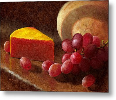 Cheese Wedge And Grapes Metal Print