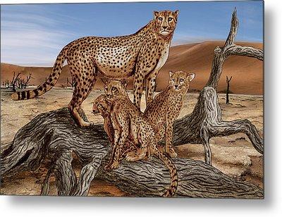 Cheetah Family Tree Metal Print by Peter Piatt